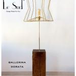 BALLERINA DORATA: paralume in ferro con  applicazioni  in tessuto dorato  base in legno (30 x 30 cm) h max.50 cm